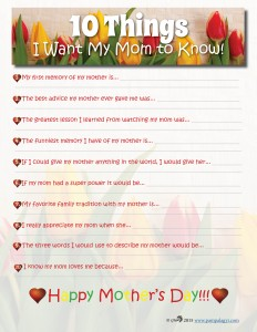 Mother's Day Printable 10 Things