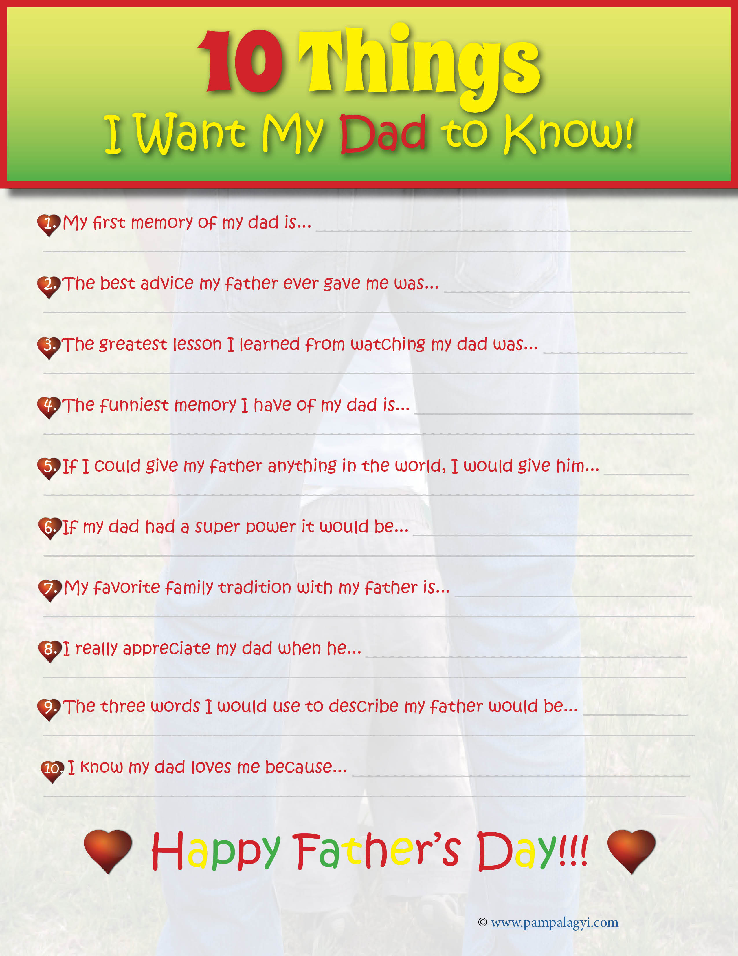 Father's Day Printable 10 Things