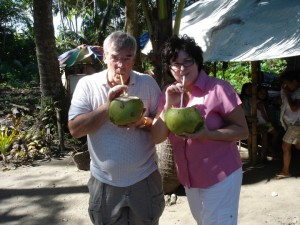 Paul and Pam Sipping Coconuts